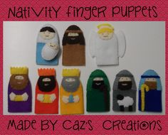 Looking for your next project? You're going to love SALE 9 Felt Nativity Finger Puppets by designer Caroline Jane. Knit Christmas Ornaments, Christmas Nativity, Christmas Knitting, Felt Ornaments, Christmas Crafts, Christmas Time, Christmas Decorations, Felt Puppets, Felt Finger Puppets