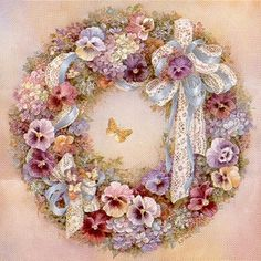 """Lena Liu """"Wreath of Pansies"""" is a signed print and canvas by floral watercolor artist Lena Liu Ribbon Embroidery, Cross Stitch Embroidery, Cross Stitch Patterns, Raindrops And Roses, Decoupage Vintage, Pics Art, Pansies, Floral Watercolor, Burlap Wreath"""