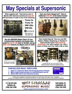 Great offers on Mackie, Seagull, Mapex, and MORE!