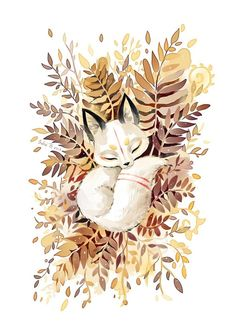 """Slumber"" by Indré  I Believe this is a Kitsune, my favorite Asian spirit."