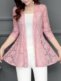 Shop berrylook collarless lace see through plain cardigan online get outfit ideas style inspiration from fashion designers at adorewe com Stylish Dresses For Girls, Elegant Dresses, Casual Dresses, Fashion Dresses, Fashion Fashion, Fashion Spring, Fashion Clothes, Trendy Fashion, Fashion Trends