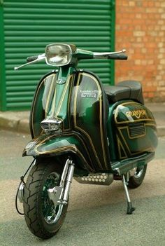 Vespa standing at attention Scooters Vespa, Vespa Ape, Lambretta Scooter, Scooter Motorcycle, Motor Scooters, Motorcycle Outfit, Scooter Scooter, Scooter Images, Custom Vespa
