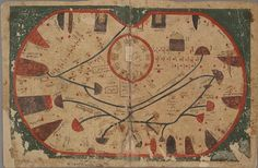The Book of Curiosities or A Medieval Islamic View of the Cosmos - map of sicily - Six pigments were identified in the illustrations: cinnabar (red), orpiment (yellow), lazurite (blue), indigo, carbon-based black and basic lead carbonate (a 'lead white'); four further pigments (a golden material, a green pigment, the purple pigment used to depict city walls, and the blue component of the dark green pigment mixture on certain folios) could not be identified.