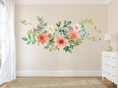 Boho wall Decals - Watercolor Pink Floral and Feathers Wall Decals - boho Feathers Wall Decal - Pink flower Blooms Wall Mural - Romantic spring Flowers -Watercolor Rustic Florals Wall Decals - Boho Bedroom Decor - Nursery Room Decor - Girl Room Decor Floral Bedroom Decor, Flower Room Decor, Flower Mural, Nursery Room Decor, Wall Decals For Bedroom, Girl Wall Decals, Flower Decals For Walls, Coral Room Decor, Childrens Wall Decals