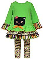 Bonnie Baby Baby Girls' Green CAT Applique Halloween Leggings outfit