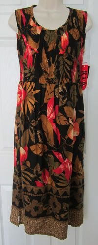 New 4P Sundress Black Gold Red Long Summer Dress 4 Petite Floral NWT -$17.99
