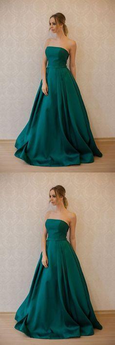 Simple A-Line Strapless Green Satin Long Prom/Evening Dress P0189 #promdresses #2018promdresses #longpromdresses #elegantpromdresses #2018newstyles #fashions #styles #hiprom