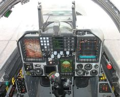 Inside the new cockpit of the Kfir and Block 60 utilizes multiple large color displays, HUD and helmet mounted sight. Iai Kfir, Military Jets, Military Aircraft, Fighter Aircraft, Fighter Jets, Ejection Seat, Delta Wing, Aircraft Propeller, Flight Deck