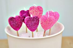 Glittery Heart Candles | 41 Heart-Shaped DIYs To Actually Get You Excited For Valentine's Day