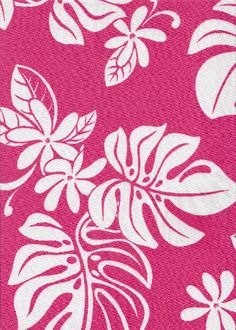 60uhina Tropical Hawaiian pink & white plumeria flowers on a broadcloth apparel.  More fabrics at: BarkclothHawaii.com