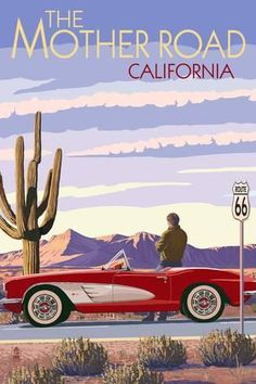 Arizona - Route 66 - Corvette with Red Rocks - Lantern Press Artwork Giclee Art Print, Gallery Framed, Espresso Wood), Multi Surf Vintage, Photo Vintage, Route 66 Arizona, Kunst Poster, Poster Prints, Art Prints, Art Deco Posters, Gig Poster, Design Posters