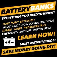 Battery Bank DIY! Everything you need to know about setting up your own DIY battery bank for solar, wind, hydroelectric power for emergency backup or off the grid living!