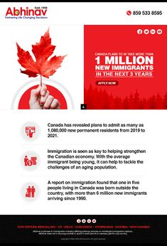 The glad tidings of joy for new immigrants planning to move to Canada. The Canadian government to ploy 1 million new immigrants in coming 3 years. Excited? Wish to know more? For more information do contact at +918595338595 or email us at web@abhinav.com Fun Facts About Canada, Migrate To Canada, Immigration Canada, Moving To Canada, Ielts, Experiential, 3 Years, Public, Inspirational Quotes