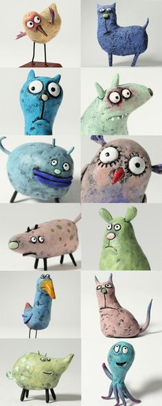 A series of natural clay stay, From: @ angs primary school,> http://t.cn/zOCwZPX (Photos). Kay not sure of real source. But as you can tell, I go for high art. Ceramic, clay, animals, character.