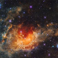 Tadpole Nebula, IC 410, lies about 12,000 light-years away in the northern constellation Auriga. The cloud of glowing gas is over 100 light-years across, sculpted by stellar winds and radiation from embedded open star cluster NGC 1893. Potentially sites of ongoing star formation in IC 410, tadpole shapes at center are about 10 light-years long. Image from NASA's Wide Field Infrared Survey Explorer (WISE) satellite.