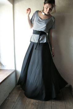 Maxi Skirt Long skirt Boho skirt Floor length skirt by larimeloom -- description says this is a quarter circle skirt, hmmmm, cut on bias