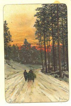 Heim frå skogen sein ettermiddag. Sign Barlog. Eneret H Abel Christiania