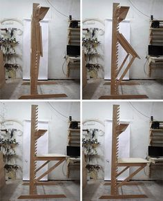 Transforming Desk is Four Pieces of Furniture in One - standard desk, drafting table, standing desk, art easel