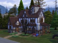 This house inspired by fantasy architecture, is a mix of mainly old and a bit of new created for a slightly weird outdoor enthusiast sim. Such a big outdoor enthusiast that even the bathroom is outside. Found in TSR Category 'Sims 4 Residential Lots' Casa Medieval Minecraft, Medieval Houses, Sims 4 House Building, Sims House Plans, Vampire House, The Sims 4 Lots, Sims 4 House Design, Casas The Sims 4, Old Abandoned Houses