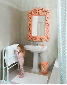 Painted Mirror, love love coral