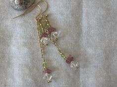 Peridot, clear quartz and pink tourmaline chip on a chain dangle handmade earrings by MoonBeamsJewels on Etsy