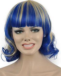 Diy-Wig Blue Mixed Yellow Short Bottom Curly Fly Bob Wig…