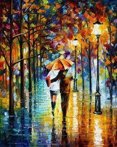 Under The Red Umbrella - Leonid Afremov