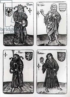 Playing cards depicting the Fool in various suits (engraving) (b photo), 16th century