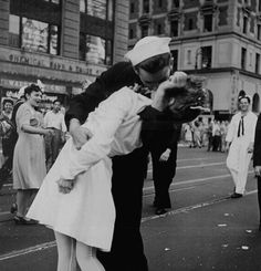 the iconic photograph taken by Alfred Eisenstaedt. Originally published in LIFE Magazine, the photo depicts a sailor kissing Edith Shain in her nurse's uniform, in Times Square on August 14, 1945.