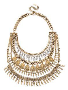 Amazon Medallion Bib Necklace | BaubleBar (NOTE: seen here: http://thecorporatecatwalk.blogspot.com/2014/06/pencil-skirt-nude-accessories.html )