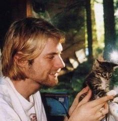 Kurt Cobain with his kitty