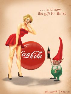 Coca-Cola Pin-up Girl by Etienne Legault: Pin Up and Cartoon Girls