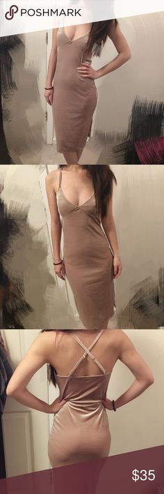 Nude velvet midi dress Midi dress in beautiful nude color, has criss cross at the back,, its very stretchy and hug your body nicely, in new condition only worn once for the picture! This is a self design dress so it doesnt have a tag or a brand name.. fits both s and xs NOT AA American Apparel Dresses Midi