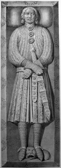 Berenguer de Puigvert (1278) - Showing a fancy, brocade or heavily-embroidered heavy surcoat (lined, almost certainly) split to the midchest from the neck and closed with three brooches, belt (either broad leather with bars and rondels or linkwed plaques), full maille, and spurs.