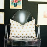 Our gold foil polka dot 14x20 lumbar pillow cover with a zipper sewn in at the bottom. All of our...