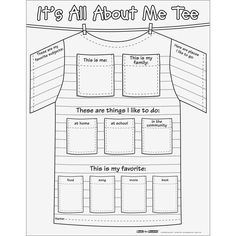 Ready-To-Decorate™ All About Me Tee Posters.Great for beginning of year activity All About Me Project, All About Me Crafts, All About Me Activities, First Day Of School Activities, English Activities, Beginning Of The School Year, New School Year, All About Me Poster, All About Me Book