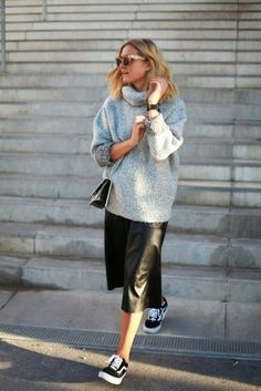 Chunky sweater, black leather skirt, runners