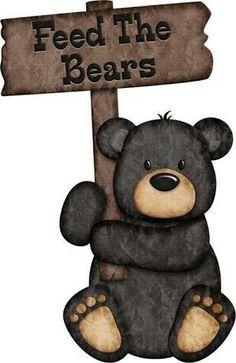 Feed The Bears - Black Bear ༺♛ Christine Staniforth ♛༻ Dont Feed The Bears, Black Bear Decor, Bear Clipart, Bear Signs, Bear Paintings, Bear Crafts, Friend Book, Camping Theme, Bear Art