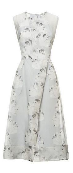 palm print organza dress