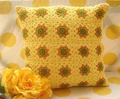 Yellow Granny Cushion by NinuJacob, via Flickr.