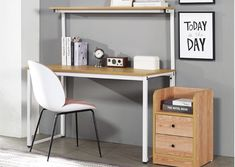Bryant Desk V - Oak and white    It's not only specifically designed to put your personal books set collections, important files, and folders in the library, bu... Wardrobe Shoe Rack, Dressing Table Desk, Oak Desk, Oak Color, Personalized Books, Floor Space, Home And Living, Simple Designs, Bedroom Furniture