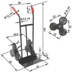 Handcart, Ladder trolley, triple wheels each side, for stairs.