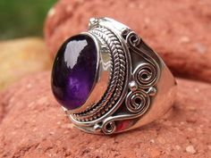 925 SILVER RING AMETHYST SIZE Q * US 8.25 SILVERANDSOUL HANDCRAFTED JEWELLERY