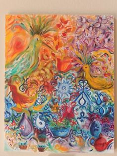 Colorful-Birds-Happy-Painting-Joy-Nature-Handmade-Large-Oil-in-Canvas-Original