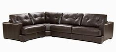 Sectional Bazini - Contemporary Style - Jaymar Collection. Padded/Tufted sofa Brown leather sectional.
