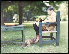 panabasis: Boy with a Book, an Orange, and a Dog - Autochrome, c.1915. Janus Museum Collection.