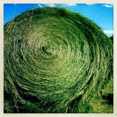 A round bale of hay is 1400 lbs, roughly = 25 square bales. http://themuddykitchen.com/