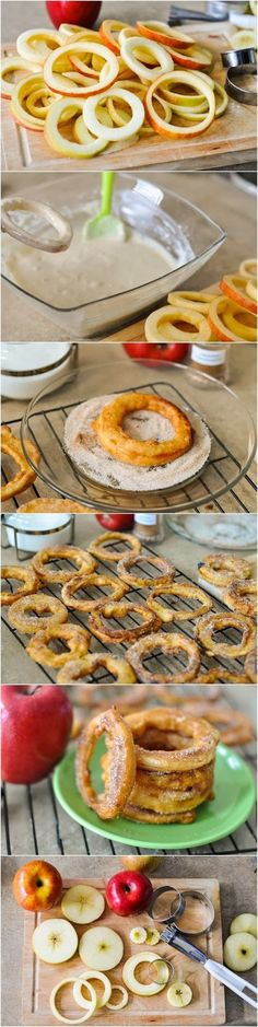 Apple Cinnamon Rings Recipe  Ingredients: Batter 4 large apples (any variety) 1 cup all-purpose flour 1/4 tsp baking powder 2 tablespoons sugar 1/4 teaspoon salt 1/8 teaspoon ground cinnamon 1 large egg 1 cup (250 ml) buttermilk 1/2 cup canola oil, for frying Cinnamon Sugar Coating 3 tablespoons sugar 1 teaspoon ground cinnamon
