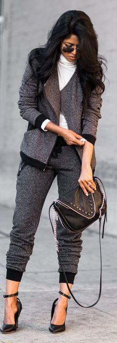 Gray Glittering Sweat Suit by Walk In Wanderland
