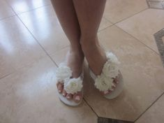 Beautifully Hand Crafted Wedges in Ivory. 100% Rubber Brazillian Brand Wedges Used.  Get your Vintage Shappy Chic Style on with these to Accent your